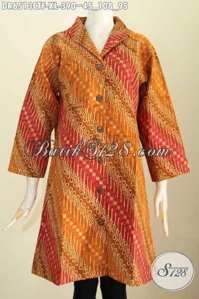 Baju Batik Terusan Size XL, Pakaian Batik Kerah Langsung Bahan Adem Proses Cap Tulis Daleman Full Tricot Untuk Tampil Lebnih Elegan [DR6513CTF-XL]