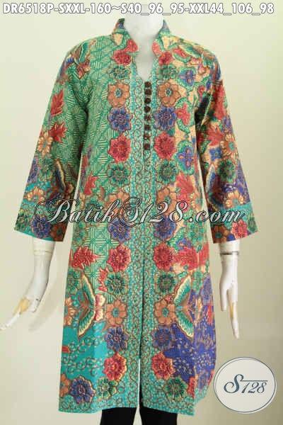 Baju Dress Batik Soo Dengan Kancing Banyak Dan Desain Yang Trendy, Baju Batik Modis Pake Saku Depan Kanan Kiri Motif Bagus Proses Printing 160K [DR6518P-S]