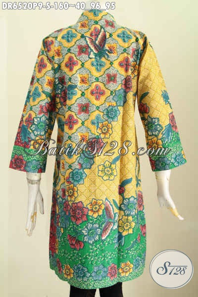 Busana Batik Istimewa Untuk Acara Resmi, Dress Batik Motif Bahan Halus Motif Mewah Proses Printing Pake Kancing Banyak Dan Saku Harga 100 Ribuan [DR6520P-S]