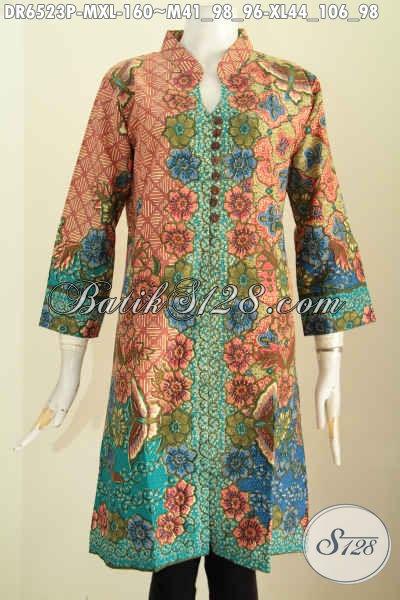 Produk Baju Batik Solo Nan Istimewa, Busana Batik Masa Kini Proses Printing Berbahan Adem Model Kancing Banyak Pake Saku Depan Tampil Lebih Trendy [DR6523P-XL]