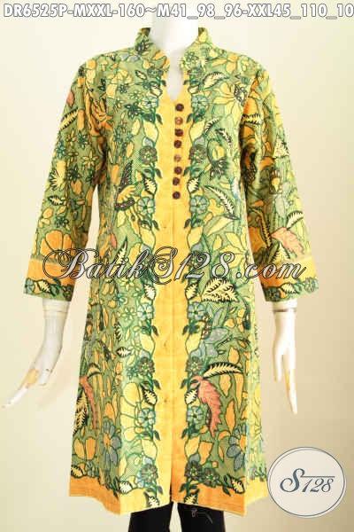 Baju Batik Dress Motif Bagus Model Terkini Pake Kancing Banyak Dan Saku Kanan Kiri, Baju BatikKerja Wanita Karir Tampil Mempesona [DR6525P-M]