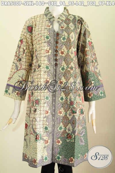 Baju Batik Elegan Untuk Wanita Muda Dan Dewasa, Dress Batik Kancing Banyak Saku Depan Motif Mewah Printing Di Jual Onine 160K [DR6530P-S]