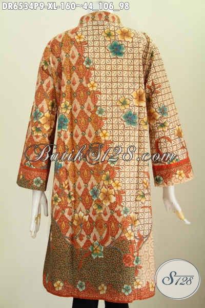 Batik Dress Masa Kini, Produk Baju Batik Solo Istimewa, Pakaian Batik Berkelas Untuk Penampilan Lebih Gaya Dan Modern Berbahan Halus Proses Printing 160K [DR6534P-XL]