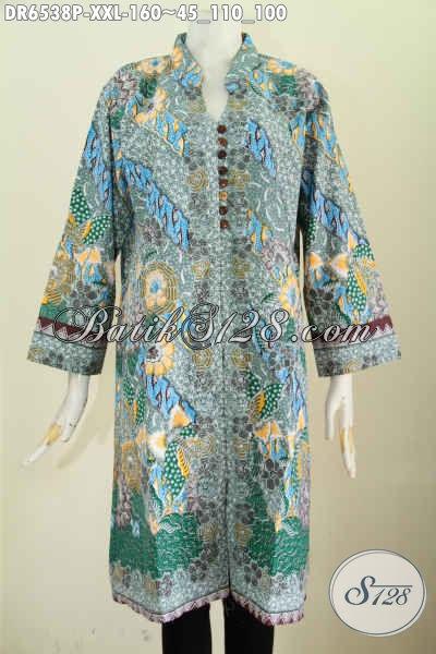 Jual Baju Dress Batik 3L, Busana Batik Solo Terkini Proses Printing Motif Bagus Kwalitas Istimewa Desain Berkelas Tampil Mempesona [DR6538P-XXL]