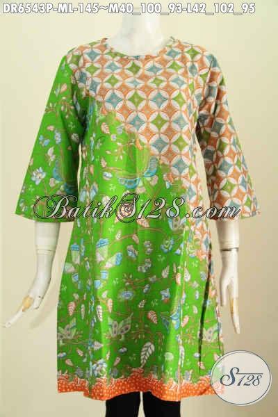 Dress Batik Hijau Motif Kombinasi, Baju Printing Modis Kwalitas Istimewa Model Tanpa Krah Lebih Keren Dan Gaya [DR6543P-M]