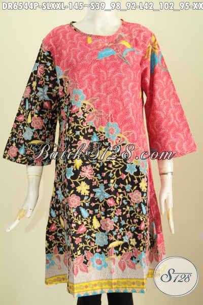 Baju Dress Bahan Batik Solo Proses Printing, Busana Batik Halus Desain Trendy Cocok Untuk Jalan-Jalan Dan Seragam Kerja [DR6544P-S]