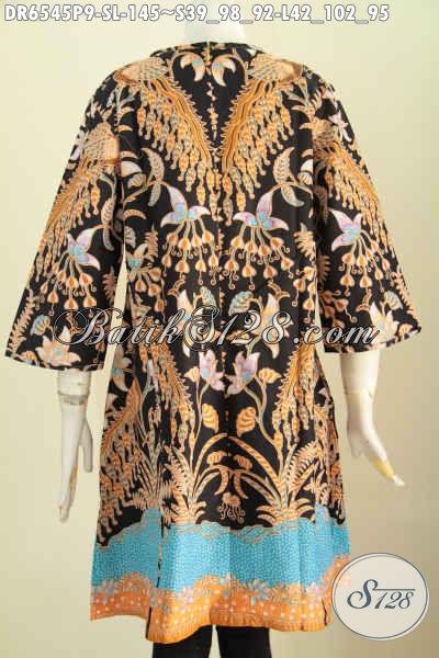 Baju Batik Dress Kwalitas Bagus, Busana Batik Solo Terkini, Pakaian Batik Jawa Tengah Untuk Wanita Muda Dan Dan Dewasa Tampil Beda [DR6545P-S]