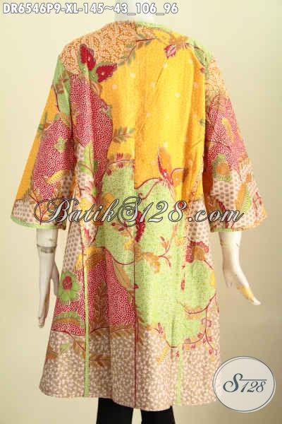 Batik Dress Trendy Motif Unik, Baju Batik Printing Solo Model Tanpa Krah Bahan Adem Kwalitas Bagus Harga 145K [DR6546P-XL]