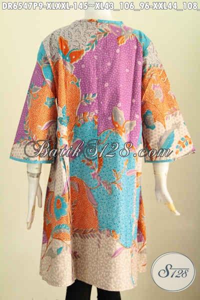 Sedia Baju Batik Solo Terkini, Dress Batik Wanita Masa Kini Yang Bikin Penampilan Lebih Modis Dan Bergaya Hanya 145K [DR6547P-XL]