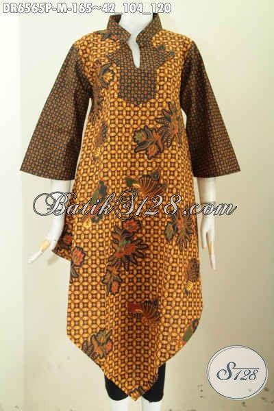 Busana Batik Terusan Untuk Wanita Muda, Baju Batik Kerah Shanghai Model Kotak Motif Klasik Bahan Adem Nyaman Di Pakai Proses Printing [DR6565P-M]