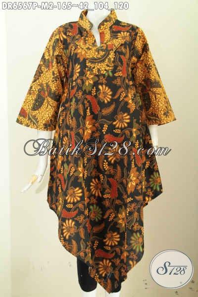 Jual Online Dress Batik Jawa Halus Motif Klasik Model Kerah Shanghai Kotak Untuk Tampil Bergaya Dan Elegan [DR6567P-M]