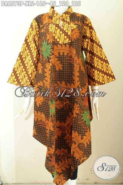 Baju Dress Batik Kerah Shanghai Kotak Untuk Wanita Dewasa, Busana Batik Klasik Khas Jawa Tengah Pas Buat Kerja Dan Kondangan [DR6573P-XL]