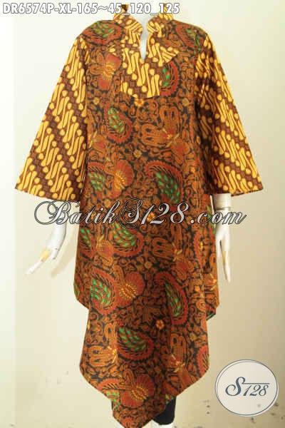 Baju Batik Kerja Wanita Karir, Hadir Dengan Model Kerah Shanghai Kotak Bahan Halus Proses Printing Untuk Tampil Lebih Mempesona [DR6574P-XL]