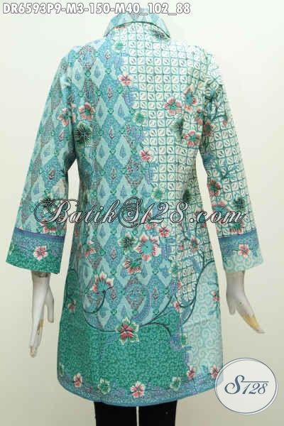 Batik Dress Solo Kwalitas Bagus Motif Mewah Proses Printing, Busana Batik Kerah Miring Modis Untuk Kerja Dan Jalan-Jalan [DR6593P-M]