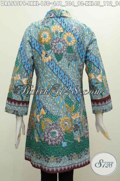 Pusat Baju Batik Online Khas Jawa Tengah, Sedia Dress Kerah Miring Motif Mewah Buatan Solo Bahan Adem Warna Berkelas Hanya 100 Ribuan [DR6595P-L]