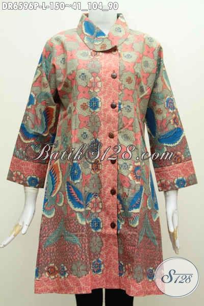 Batik Dress Istimewa Khas Solo, Baju Batik Kerah Miring Tren Masa Kini Yang Bikin Wanita Terlihat Anggun Dan Cantik [DR6596P-L]