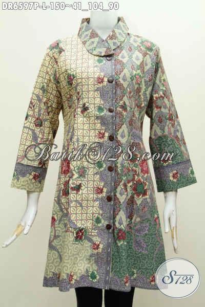 Sedia Produk Baju Batik Solo Terkini, Busana Batik Wanita Dress Kerah Miring Motif Bagus Banget Proses Printing Bahan Adem Nyaman Di Pakai [DR6597P-L]