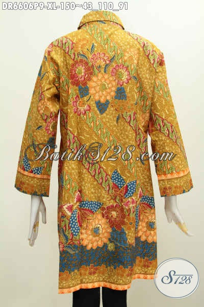 Jual Baju Batik Dress Kuning Untuk Wanita Dewasa, Busana Batik Motif Bagus Proses Printing Model Kerah Miring Bikin Penampilan Lebih Cantik Maksimal [DR6606P-XL]