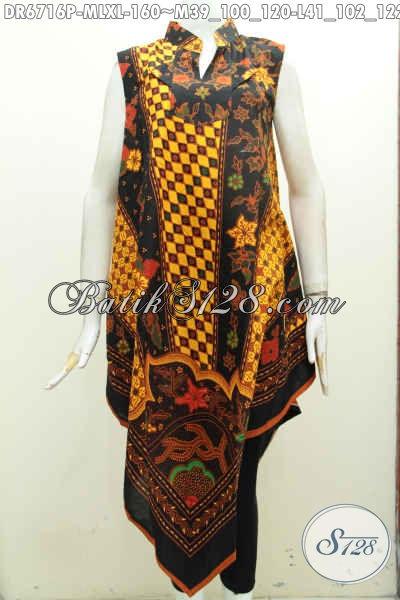 Pakaian Batik Keren Wanita Terkini Motif Klasik Model A Simetris, Baju Batik Tanpa Lengan Proses Printing Hanya 100 Ribuan Saja [DR6716P-L]