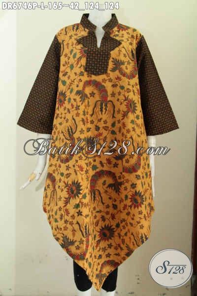 Butik Batik Online, Sedia Dress Batik Modern Untuk Wanita Tampil Cantik, Busana Batik A Simetris Kwalitas Bagus Motif Klasik Harga Murmer [DR6746P-L]