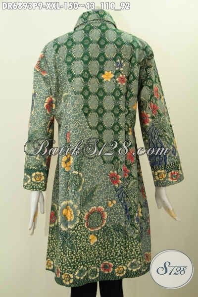 Dress Batik Elegan Untuk Wanita Gemuk Kerah Miring, Desain ...