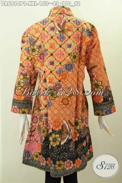 Desain Baju Batik Wanita Atasan, Dress Batik Kerah Miring ...