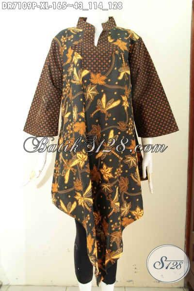 Baju Batik Wanita Bagus Buatan Solo, Dress Batik Elegan Motif Klasik Bagian Bawah Lancip Trend Mode Terkini Yang Di Sukai Wanita Kantoran [DR7109P-XL]