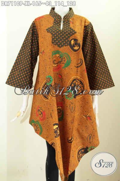 Baju Dress Model Bagian Bawah Lancip, Busana Batik Klasik ELegan Buatan Solo Spesial Untuk Wanita Dewasa Karir Aktif Tampil Lebih Trendy Dan Elegan [DR7110P-XL]