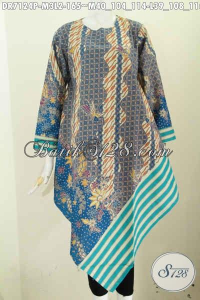 Batik Dress Motif Kombinasi Slarak, Busana Batik Dress Model Taplak Proses Printing Pakai Resleting Belakang Tampil Modis Dan Menawan [DR7124P-L]