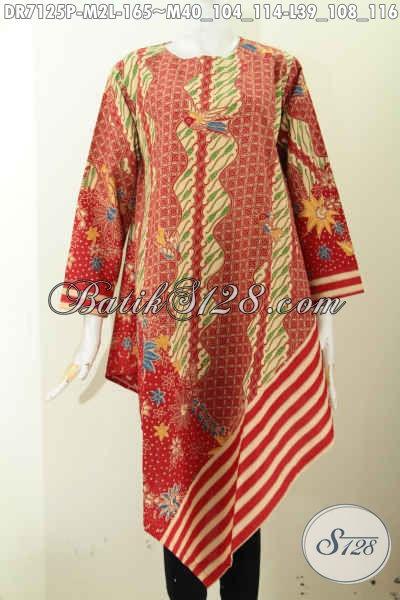Baju Batik Murah Untuk Wanita Dengan Kwalitas Nan Istimewa, Dress Batik Taplak Relseting Belakang Motif Berkelas Harga 165K [DR7125P-M]