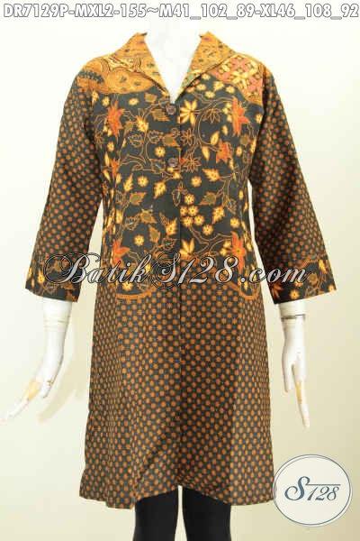 Batik Kerja Wanita Karir, Dress Batik Elegan Motif Klasik Dengan Kerah Langsung Dan Pakai Kantong Paspol Kanan Kiri, Lebih Modis [DR7129P-M , XL]