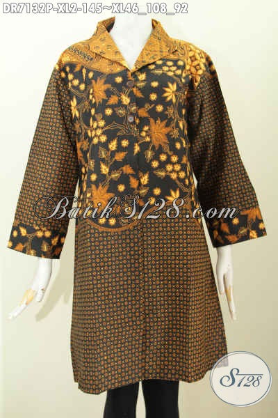 Dress Batik Wanita Dewasa, Pakaian Batik Printing Elegan Halus Bahan Adem Model Kerah Langsung Pakai Kantong Paspol Kanan Kiri Proses Harga 145 Ribu [DR7132P-XL]