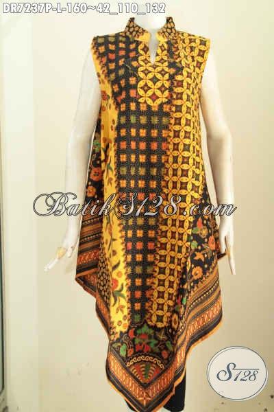 Busana Dress Batik Solo, Pakaian Batik Dress Elegan Dan Modis Model Taplak Kwalitas Bagus Di Lengkapi Resleting Belakang Proses Printing [DR7237P-L]