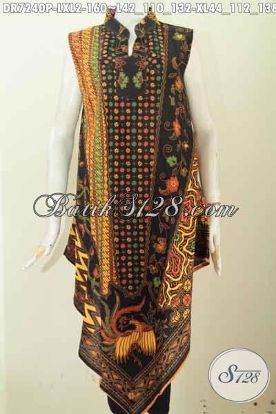 Busana Dress Batik Modis Model Taplak, Baju Batik A Simetris Tanpa Lengan Motif Klasik Printing Dengan Relseting Belakang 160 Ribu [DR7240P-XL]