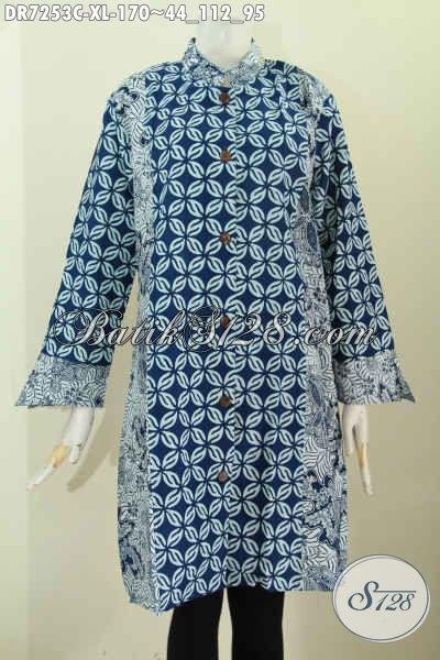 Pusat Baju Batik Wanita Online, Sedia Dress Batik Modis Dual Warna Model Kerah Shanghai Tampil Gaya Mempesona [DR7253C-XL]
