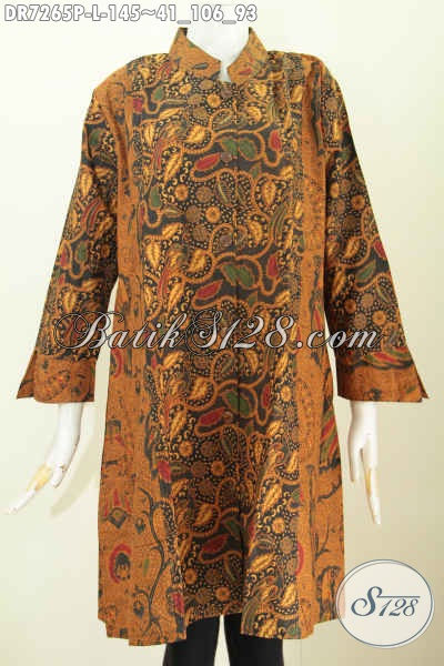 Baju Dress Klasik Elegan, Baju Batik Modern Wanita Di Jual Online Model Kerah Shanghai Kombinasi 2 Warna Hanya 100 Ribuan [DR7265P-L]