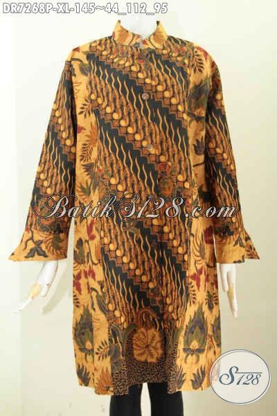 Pakaian Batik Elegan Klasik Kombinasi 2 Warna, Baju Batik Wanita Modis Kerah Shanghai Cocok Untuk Seragam Kerja Kantoran Proses Printing [DR7268P-XL]