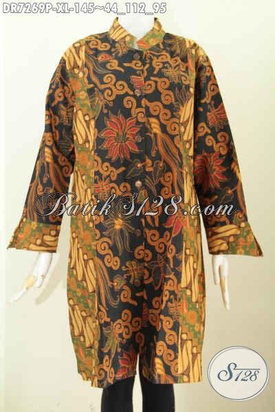 Dress batik muslimah tangan panjang