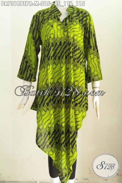 Dress wanita batik warna hijau bahan paris