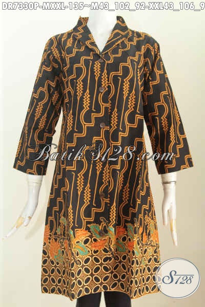 Dress Batik Kerah Langsung 2017, Baju Batik Cewek Modis Tampil Gaya Model Terbaru Motif Trendy Proses Printing 135K [DR7330P-XXL]