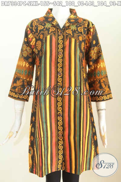Model Dress batik kombinasi tampak gambar depan