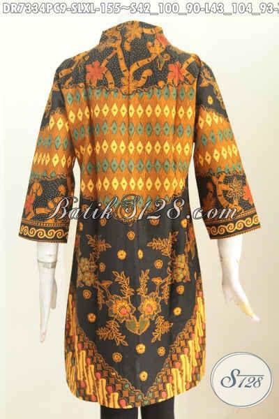 Gambar dress batik belakang motif kombinasi terbaru