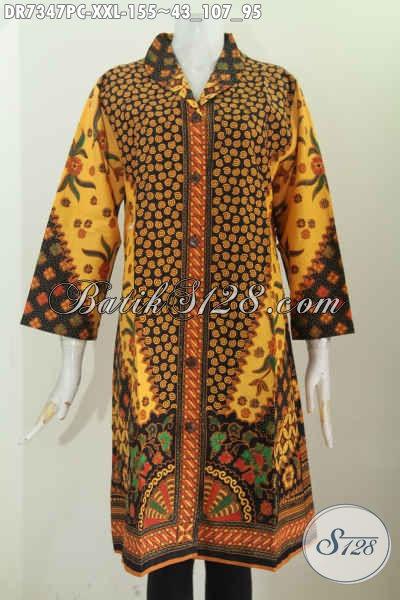 Pakaian Batik Wanita Terkini, Dress Batik Solo Elegan Dan Mewah Proses Printing Motif Klasik Bahan Halus Nyaman Di Pakai Kerja [DR7347PC-XXL]