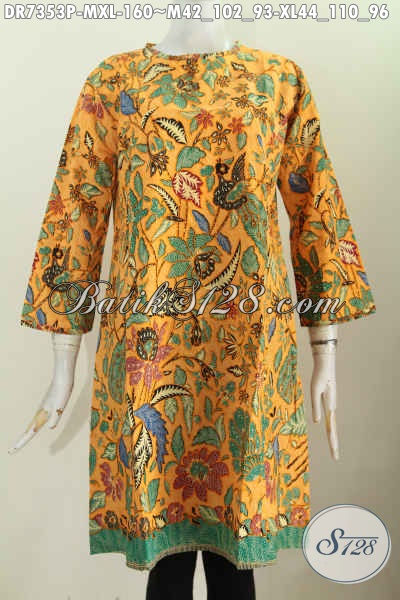 Baju Batik Kerja Wanita Karir, Dress Batik Resleting Belekang Tanpa Krah, Motif Terkini Proses Printing Harga 160 Ribu [DR7353P-M]