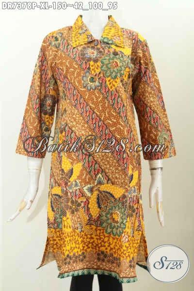 Baju Batik Kerah Lancip, Dress Batik Wanita Dewasa Kancing Miring Motif Klasik Printing 150K [DR7378P-XL]