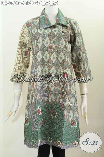 Batik Dress Solo Halus Motif Bagus, Pakaian Batik Printing Desain Istimewa Kerah Lancip Dengan Kancing Miring Hanya 150 Ribu [DR7379P-S]