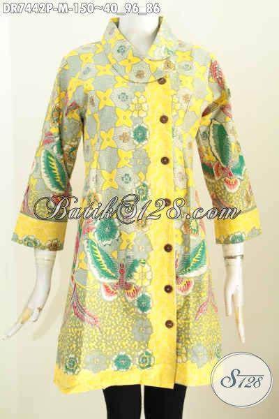 Jual Baju Batik Wanita Kerja, Dress Batik Halus Kerah Miring Warna Bagus Motif Trendy Proses Printing Hanya 150 Ribu [DR7442P-M]