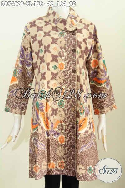 Batik Kerja Wanita Dewasa, Busana Dress Batik Solo Model Kerah Miring Desain Mewah, Bikin Penampilan Cantik Dan Anggun [DR7452P-XL]