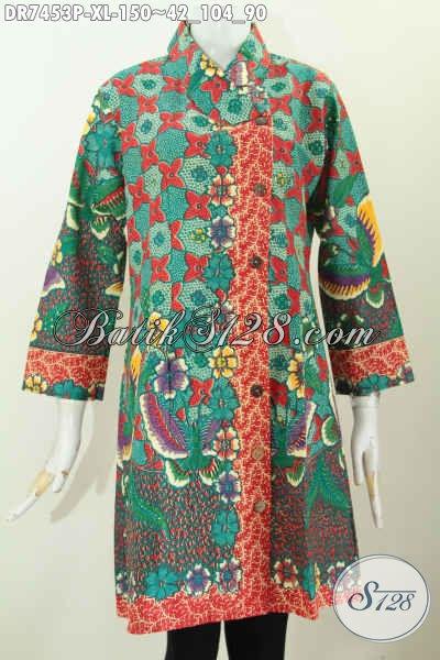 Batik Dress Istimewa Motif Mewah Warna Hijau Proses Printing Harga 150 Ribu, Hadir Dengan Model Kerah Miring, Cocok Baut Ke Kantor [DR7453P-XL]