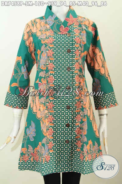 Dress Batik Hijau Motif Mewah, Baju Batik Kerah Miring Nan Modis Dan Berkelas Hanya 150K [DR7458P-S]